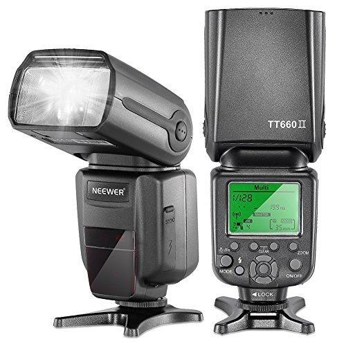 Neewer 10079534 TT660 II Wireless Professionel Speedlight Blitzgerät mit Blitz-Diffusor für Canon/Nikon/Pentax/Olympus Kamera schwarz