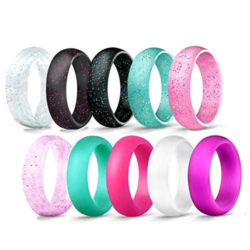 JewelryWe Schmuck 10 PCS Silikon Ehering für Männer und Frauen, 5.7mm Gummi Hochzeit Bands Gummibänder Ring für Sport Outdoor Fitness, 10 Farben mit Glitzer Set, Größe 52