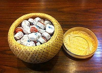 Pu erh mini gâteaux de thé fermenté Tuocha, le plus haut total 210 grammes dans l'emballage de boîte en bambou