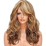 LILICAT Neuf Femmes dégradé Marron Cheveux Longs bouclés Perruques Blond Perruque Cheveux synthétiques complète des Perruques Couleurs mélangées Sexy Style de Cheveux pour Femme fête des Perruques
