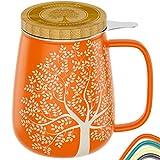 amapodo Teetasse mit Deckel und Sieb 650ml - Geschenk, Porzellan Tasse groß, XXL Tassen Set plastikfrei Orange für losen Tee
