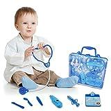 Arztkoffer Kinder Spielset Doktor Arzt-Set mit 16 Pcs Arzt Zubehör für Kinder Mädchen und Jungen Arztkoffer Kinder ab 3 Jahre (blau)