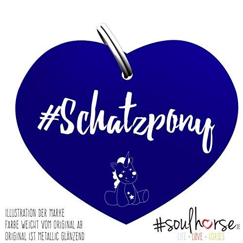 Soulhorse Marke Schatzpony blau - Glücksbringer für Pferde, Hundemarke - Glücksmarke für Sattel, Halfter & Trense