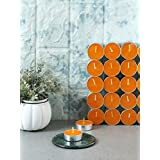 Festive Orange Non Aromatic Tea Light Candles - Set Of 100 From RESONANCE