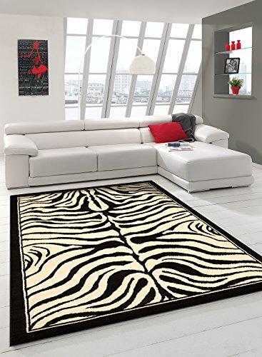 Alfombra cámara cebra alfombra moderna diseño moderno, negro, 80 x 150 cm