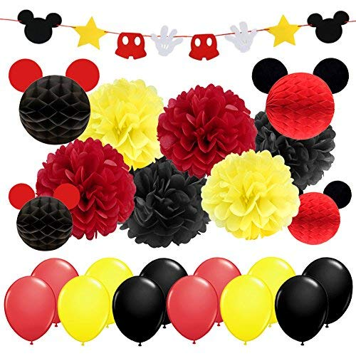 e Partyzubehör & Dekorationen Gelb Schwarz Rot Mickey Mouse Geburtstag Dekorationen Garland Banner Seidenpapier Pompoms Papierkugeln für Kinder Geburtstags Feier Baby Shower ()