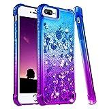 wlooo Coque pour iPhone 6 Plus, Glitter Liquide Paillette Protection TPU Bumper Silicone Housse Étincelle Pente Antichoc Souple Brillante Étui pour iPhone 6 Plus/6s Plus/7 Plus/8 Plus (Blue Violet)