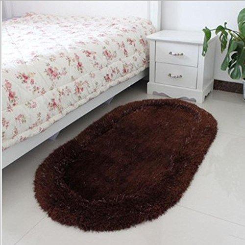 HDWN Ovale seta stretch comodino tappeto di moquette di seta seta coreano 70 * 140cm camera da letto , coffee color , 70*140cm