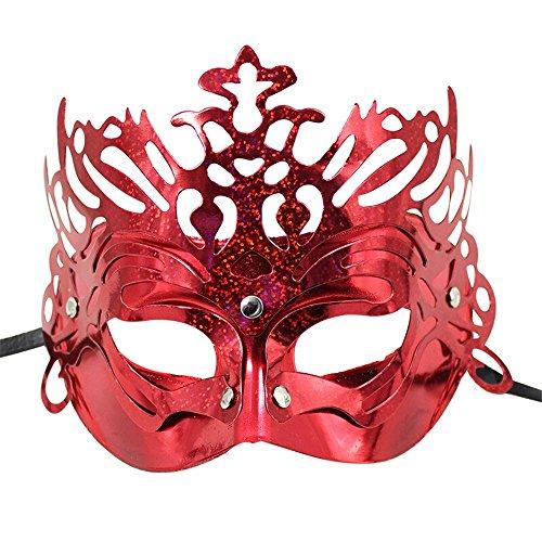 (Masken Gesichtsmaske Gesichtsschutz Domino falsche Front Make-up Tanz Party COS-Maske Weibliches Halbes Gesicht Maske Rot)