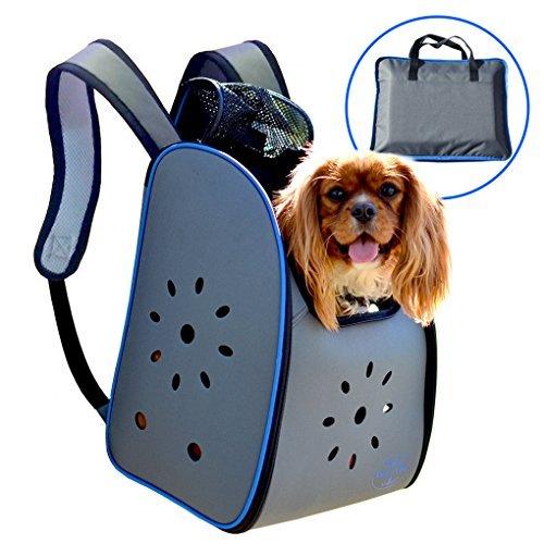MyDeal Pop up Pet Carrier Rucksack Tasche mit Wetter Resistent Oxford Material, Belüftete Seiten und Reißverschluss Top für Welpen, Hunde, Kätzchen, Katzen, Kaninchen + Mehr. inkl. Tasche -
