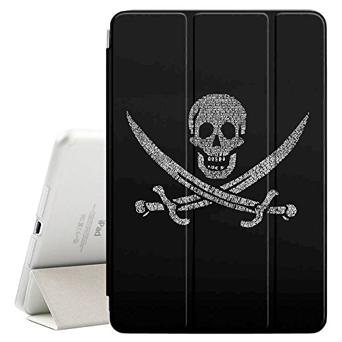 Graphic4You Pirate Flag with Skull Made of Words Design Smart Cover Hülle Dünn Tri-Fold Schlank Superleicht Ständer Cover Schutzhülle Tasche für Apple iPad Air 10.5