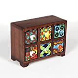 #6: Universal Art 6-Drawer wooden Chest with Ceramic Drawers