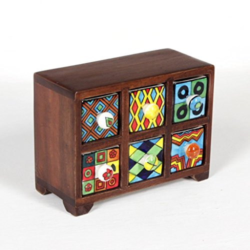 Universal Art 6-Drawer Wooden Chest With Ceramic Drawers