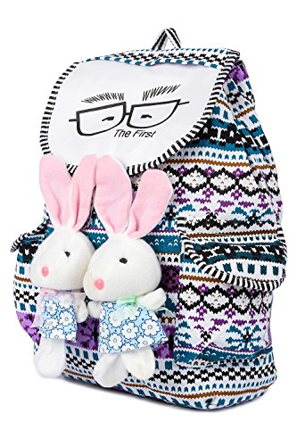 Trendifly New Stylish Bunny Backpack Bag for Women and College Girls Teddy Printed Multicolour Image 5