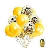 16 Pezzi 18 ° Compleanno Festa Palloncino Oro, Palloncini Confetti Palloncino Lattice Stampato con Buon Compleanno e Numero di 18,12 Pollici, 1 Pacco Colore Casuale Stringa