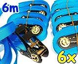 6 Zurrgurte mit Ratsche 6 m 0,8 t EN-12195-2 blau Spanngurte 6m