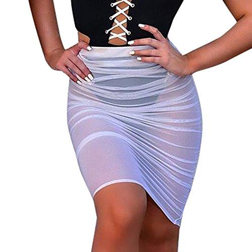 Beonzale Mode Damen Kurz Rock Frauen Sonnencreme Enge Mesh Rock Perspektive Beachwear Kleid Minirock ()