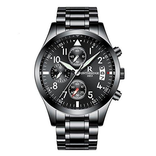 RuiZhiYuan Herren Quarz Uhren Edelstahl Multifunktions Wasserdicht Leuchtende Nacht Datumsanzeige Armbanduhr Uhr(Ganz schwarz)