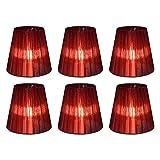 Eastlion 6 PC 9 * 14 * 13cm transparente Kerze Kronleuchter Lampenschirm Wand Lampe Anhänger Lampe Schatten, Wein Rot mit Mesonen