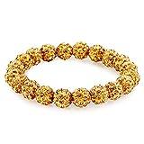 Morella® Damen Armband Perlen mit Zirkoniasteinen elastisch gelb