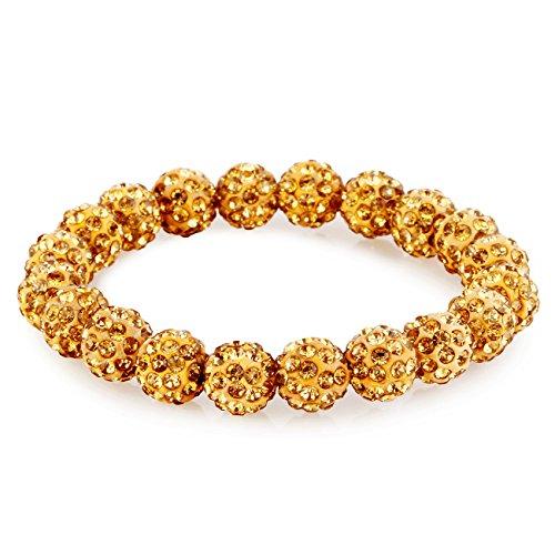Morella® Damen Armband Perlen mit Zirkoniasteinen elastisch (Gold Modeschmuck Gelb)