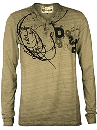 DESIGUAL Homme Designer Longsleeve Shirt - HAPPY -S
