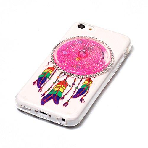 Coque iPhone 5C, Herzzer Cristal Clear Etui pour Apple iPhone 5C Transparent et Liquide Sables de Flux Diamant Sparkle Glitter Housse Etui Bling Paillettes Arrière Case [Attrape Reve Motif] Souple TPU Paillettes, Rose