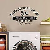 WSYYW Waschküche Wandtattoo 5 Cent Wäsche ist 24 Stunden geöffnet Aufkleber Allzweckraum Wandtattoo Wäsche Dekor Für Wand Glas Grau 27 42x25cm