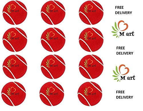 M ART Rubber Tennis Ball Light Weight RED Color, (Pack of 12)