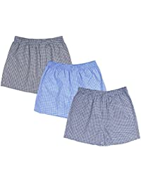 Nuovi Mens Cotton Satin Black, Blue And Navy Blue Checkered Boxers (Pack Of 3)