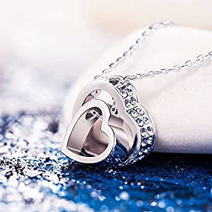 """BEST GIFTS """"LOVE YOU FOREVER"""" Engraved White Gold Plated Crystal Necklace. This simple yet romantic design is perfect for any outfit - and it makes a great gift too! Arrive in White Gift Box"""