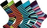 MySocks® 5 Paar Herren Socken Streifen Extra feine gekämmte Baumwolle Größe 40-45