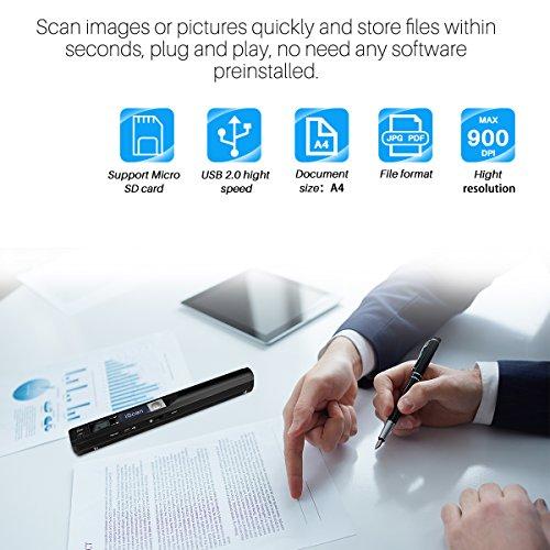 AOZBZ Portable Document Scanner Dokumentenscanner, 900DPI Mobile USB Handscanner A4 Farb Photo Scanner Handy Scan (JPG/PDF-Format, Hochgeschwindigkeits-USB 2,0,Brauchen Micro SD/TF Card aber Nicht Inbegriffen) - 2
