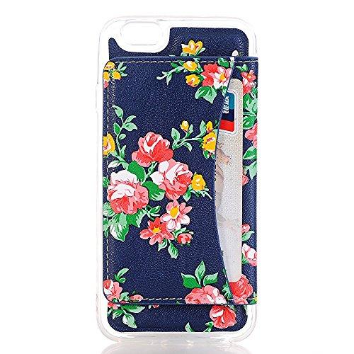 iPhone 7Hülle,TechCode® Ultra Dünn Transparent Soft Handyhülle / Kreditkarten Steckplätze / Hülle / Perfekte Passform / Durchsichtige Schutzhülle für iPhone 7 Case, iPhone 7Cover (iPhone 7, A04-ROSE) A03