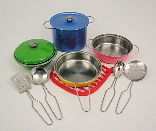 11-pieces Playset Colorful Metal Pots and Pans Kitchen Cookware for Kids w/ Cooking Utensils Set