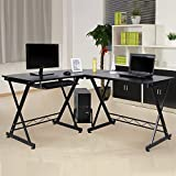 Sixclover L-Shaped Computer Desk, 3-Piece Wood Home Office Corner Desk PC Latop Study Table Workstation with Metal X-Type Frame and CUP Stand (Black, 59 x 54.3 29.5 inch)