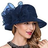Königliche Ascot Derby Cloche Hüte der Frauen britische Kirchen-Kleid-Tee-Party Eimer Hut S051 (Marine)
