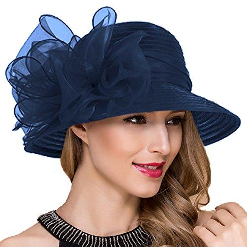 Kostüm Hut Blauen - Königliche Ascot Derby Cloche Hüte der Frauen britische Kirchen-Kleid-Tee-Party Eimer Hut S051 (Marine)
