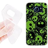 6574547M68085724 Head Case Designs Green Jazzy Skull Soft Gel Back Case Cover for Samsung Galaxy S6 G920, Galaxy S6 Duos