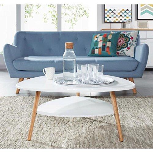 AUGUSTINE Table basse - scandinave - Laqué blanc satiné - 80x80 cm