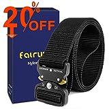 """Fairwin Cinturón táctico, cinturones de estilo militar, correas de cinturón web con hebilla de metal de liberación rápida y alta resistencia (cintura 42""""-46"""", Negro)"""