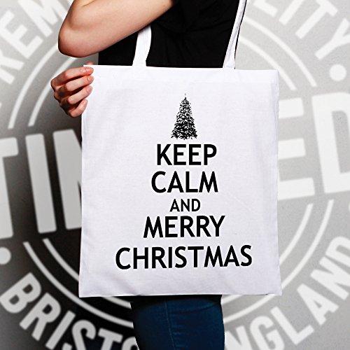 Natale Sacchetto Di Tote Mantenere la calma e Buon Natale di festa Stampato Slogan design White