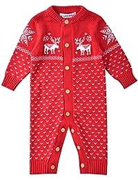 ZOEREA Suéter de bebé Mono recién Nacido Unisex Navidad de Manga Larga Jersey de algodón de Ciervo Hecho Punto