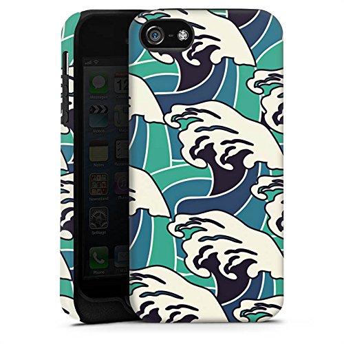 Apple iPhone 5s Housse Étui Protection Coque Vagues Été Mer Cas Tough terne
