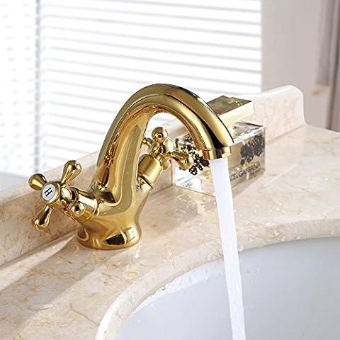 Cobre oro Jian Ou, bocina, grifo de agua caliente y fría, lavabos de mármol antiguo grifo