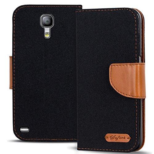 Conie Textil Hülle kompatibel mit Samsung Galaxy S4, Booklet Cover Schwarze Handytasche Klapphülle Etui mit Kartenfächer