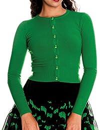 Ripleys Clothing Hell Bunny Ladies Paloma 50s Plain Cardigan Top Green #2 All Sizes
