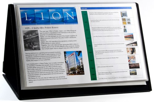 Lion Flip-n-tell Book-n-easel d'affichage, Horizontal, 1 Chevalet Display Book 20 poches 11x17 inches noir