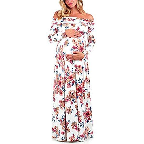 Mujeres embarazadas Accesorios de fotografía Vestido de enfermería con cuello vuelto sexy fuera de los hombros Las mujeres embarazadas Sexy Baby para maternidad vestido largo LMMVP (L, Blanco A)