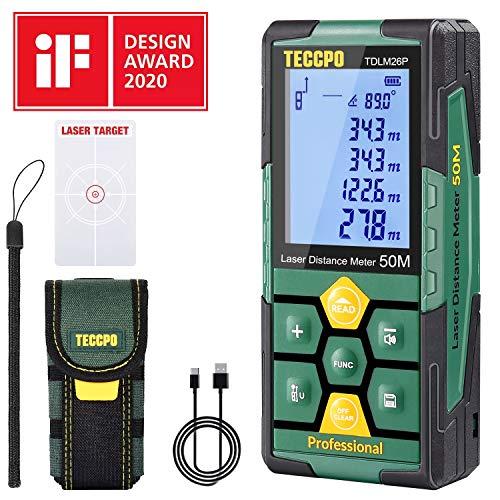 Telémetro láser 50m, USB 30mins Carga rápida, TECCPO Medidor Láser, Electrónico Ángulo Sensores, 99 Datos, 2.25'' LCD Retroiluminación, Medición de...